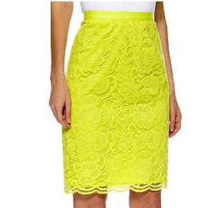 MADISON Bright Yellow Lace Pencil Skirt